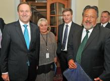 Prime Minister elect, John Key, left, with Maori Party co-leader Tariana Turia, deputy National's Bill English and Pita Sharples after meeting in Parliament. Credit:NZPA/Ross Setford
