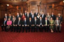 The new governement lines up after being sworn in at Parliament. Credit:NZPA / Ross Setford